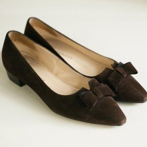 Peter Kaiser Brown Suede Bow Detail Classic Flats
